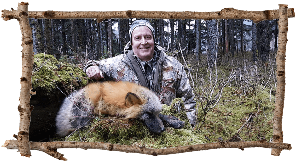 hunter with fox
