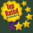 text: top rated surveys. five stars.